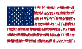 Flag of the United States. We are Family. American flag stylized silhouettes of crowds. American national flag silhouettes of different people. USA flag. Flag Royalty Free Stock Image
