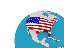 The flag of United States on the globe, 3D. Images Stock Images