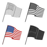 Flag of the United States icon in cartoon style  on white background. USA country symbol stock vector Stock Images