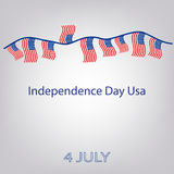 Flag of the United States with the inscription. Garland of flags. Independence Day USA. 4th of July. Vector illustration. Royalty Free Stock Image