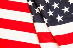Flag of the United States. Pure linen fabric flag carefully fold Stock Photography