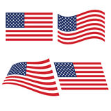 Flag of the United States in various variants of bending Royalty Free Stock Photo