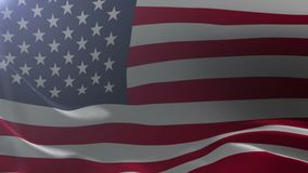Flag of United States waving on flagpole in the wind, national symbol of freedom. Stock footage stock video footage