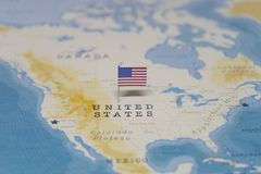 The Flag of the United States in the world map stock images