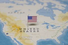 The Flag of the United States in the world map royalty free stock images