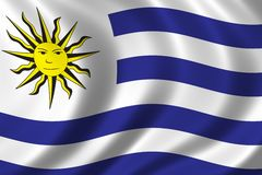 Flag of Uruguay. Waving in the wind Royalty Free Stock Photos