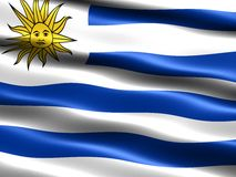 Flag of Uruguay. Computer generated illustration with silky appearance and waves Stock Photos