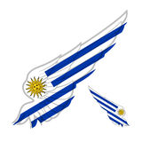 Flag of Uruguay on abstract Wing and white background. Vector il Royalty Free Stock Images