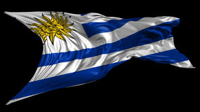 Flag of Uruguay. Beautiful   3d animation of Uruguay flag with alpha channel in 4k resolution stock video footage
