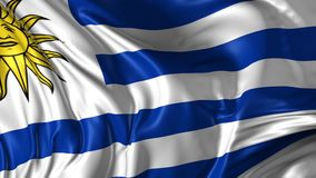 Flag of Uruguay. Beautiful   3d animation of Uruguay flag in loop mode stock footage