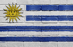 Flag of Uruguay on brick wall Royalty Free Stock Photography