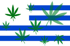 Flag of Uruguay with cannabis leaf Royalty Free Stock Photography