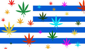 Flag of Uruguay with cannabis leaf Stock Images