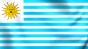 Flag of Uruguay 1828-1830. 3D Flag of the Uruguay 1828-1830. Close Up Stock Photography