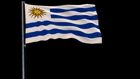 Flag of Uruguay on a flagpole on a transparent, 4k prores 4444 footage with alpha. Isolate flag of Uruguay on a flagpole fluttering in the wind on a transparent stock video