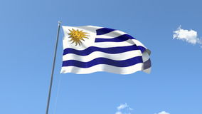 Flag of Uruguay. Front Flag of Uruguay, Seamless Loop, Alpha Matte available on my portfolio stock footage