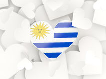 Flag of uruguay, heart shaped stickers Royalty Free Stock Photos