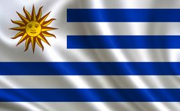 Flag of Uruguay. Part of the series. Uruguay flag blowing in the wind Stock Images