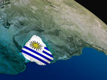 Flag of Uruguay from space Royalty Free Stock Image