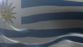 Flag of Uruguay waving on flagpole in the wind, national symbol of freedom. Stock footage stock footage