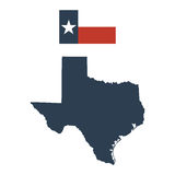 Flag of the US State of Texas and map Stock Images