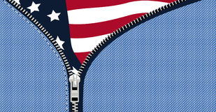 Flag USA. A  stars and stripes banner behind an open zip Stock Photography