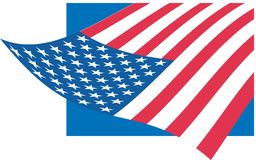 Flag of USA. Flying Flag of USA, can use in design Royalty Free Stock Photos