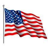 Flag of the USA. Vector illustration of a flying flag of the USA Stock Photography