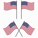 Flag USA American flags flag USA waving set vector Stock Images