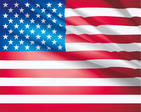 Flag of USA. American Flag for Independence Day. USA flag waving in the wind, vector beautiful background Stock Image