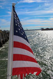 Flag USA. Flag behide the ferry ,New York ,USA Stock Images