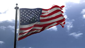 Flag of USA. Blowing on the wind, close up looped slowmotion stock video