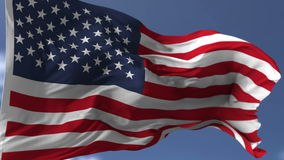 Flag of USA. Blowing on the wind, close up looped slowmotion stock video footage