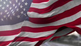 Flag of USA. Blowing on the wind, close up looped slowmotion, 4K stock footage