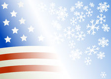 Flag of the USA on a blue background. With snowflakes vector illustration