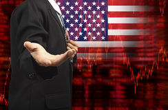 Flag of USA downtrend stock diagram with business empty hand Stock Photo