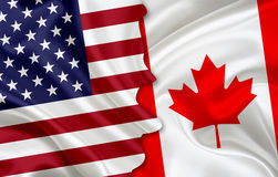Flag of USA and flag of Canada. On woven fabric texture Stock Images