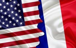 Flag of USA and flag of France Stock Image