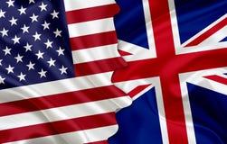 Flag of USA and flag of UK Royalty Free Stock Image