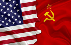 Flag of USA and flag of USSR. On woven fabric texture Royalty Free Stock Image