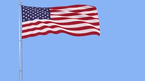 Flag of USA on a flagpole fluttering in the wind on a blue background, 3d rendering. Stock Images