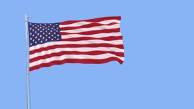 Flag of USA on the flagpole fluttering in the wind on a pure blue background. Flag of USA on the flagpole fluttering in the wind on a pure blue background, 3d Stock Photo