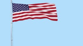 Flag of USA on a flagpole fluttering in the wind on a transparent blue background, 3d rendering, PNG format with ALPHA transparenc stock footage