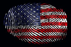 Flag USA in the form of a fingerprint on a black background stock photos