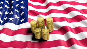 Flag of USA  with golden Bitcoin stacks Stock Images