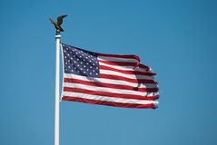 Flag usa with golden eagle Stock Image