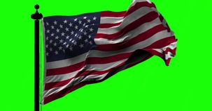 Flag of USA on green. Flag of USA blowing on the wind before green screen, close up looped slowmotion stock video