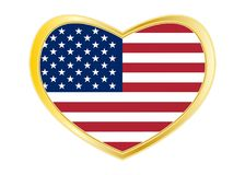 Flag of USA in heart shape, golden frame. American national official flag. Symbol of the United States. Patriotic design. US banner, element. Correct colors Stock Photos