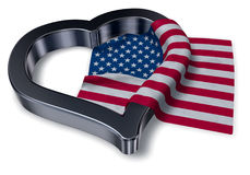 Flag of the usa and heart Stock Photography