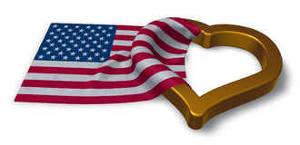 Flag of the usa and heart Stock Photo